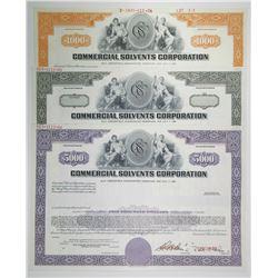 Commercial Solvents Corp., 1966, Specimen Registered Bond Trio.
