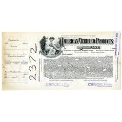 American Vitrified Products Co., ca. 1920-30's Proof Stock Certificate