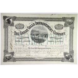 Great Falls Improvement Co. 1886 I/U Stock Certificate with Low S/N #5