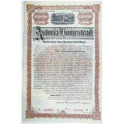 Astoria Homestead Co., Long Island City, NY, 1893 Specimen Bond, Historic Bond Issue by the Steinway