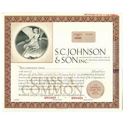 S.C. Johnson & Son, Inc., 1950-60's Specimen Stock Certificate