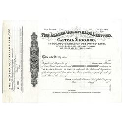 Alaska Goldfields Ltd., 1897 Specimen Stock Certificate