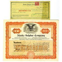 Alaska Sulphur Co., 1921-22 I/U Stock Certificate and Check Pair
