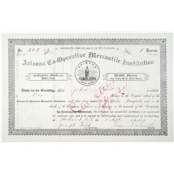Arizona Co-Operative Mercantile Institution 1889 I/C Stock Certificate, Mormon Trading Company
