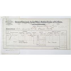 Thomas Price Analytical Chemist, Assayer and Bullion Melter 1883 Gold Bullion Receipt