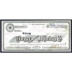 Tioga Consolidated Mining Co., 1880 I/U Bodie Mining District Stock Certificate.