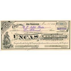 Uncas Mining Co. 1881 I/U Stock Certificate