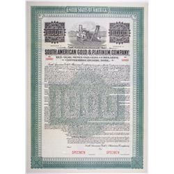 South American Gold Platinum Co. 1916 Specimen Bond