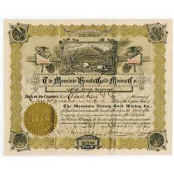 Mountain Beauty Gold Mining Co., 1900 Cripple Creek I/U Stock Certificate