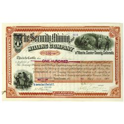 Security Mining and Milling Co., 1888 I/U Stock Certificate.