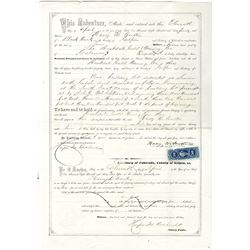 Gilpin County, Colorado Territory, Issued 1865 Quit-Claim Deed for Rockdale Mining Company of Blackh