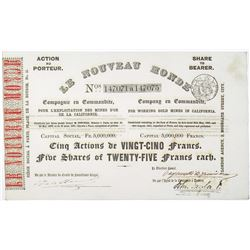 Le Nouveau Monde - For Working Gold Mines in California, 1851 I/U Stock Certificate