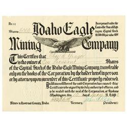 Idaho Eagle Mining Co., 1910 I/U Stock Certificate