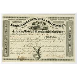 American Cannel Coal and Iron Ore, Callaway Mining and Manufacturing Co. 1857 Stock Certificate