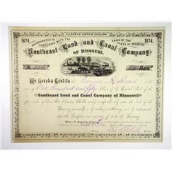Southeast Land and Canal Co. of Missouri, 1874 I/U Stock Certificate