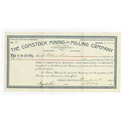 Comstock Mining and Milling Co. 1889 I/U Stock Certificate