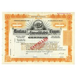 Montana Consolidated Copper Co., ca.1910-1930 Specimen Stock Certificate