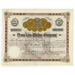Penn-Yan Mining Co., 1891 I/C Stock Certificate With Great Coin Vignette