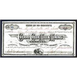 Cherry Creek Mill & Mining Company, 1874 I/U Stock Certificate.