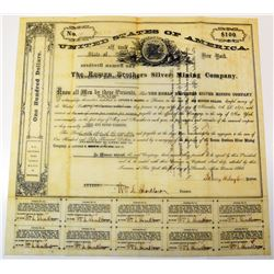 Roman Brothers Silver Mining Co. 1866 I/U Bond printed on Thin Parchment Type of Paper.