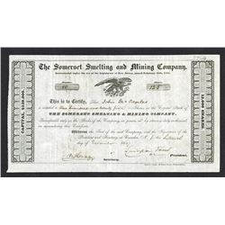 Somerset Smelting and Mining Co. 1847 I/U Stock Certificate