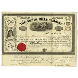 South Mills Co., 1866 I/U Stock Certificate, Notorious for Horace Greely being Scammed by a Southern