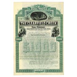 Clearfield Creek Coal Co. 1887 Specimen Bond