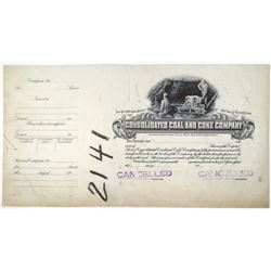Consolidated Coal and Coke Co., 1910-30's Progress Proof Stock Certificate
