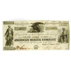 American Mining Co., 1850 I/U Stock Certificate