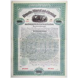 Reynolds Mineral and Chemical Co. 1899 Specimen Bond