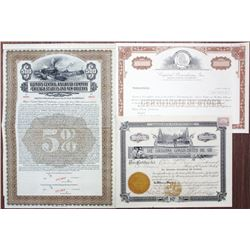 Louisiana Related Stock and Bond Trio, ca.1913 to 1984.