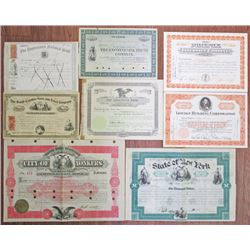 Group of 8 Miscellaneous Stock Certificates and Bonds