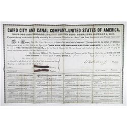 Cairo City and Canal Co. 1838 I/C $1000 6% Coupon Bond.