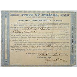 State of Indiana, 1852 I/U Wabash and Erie Canal Stock Certificate