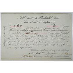 Baltimore & Philadelphia Steamboat Co. 1892 I/U Stock Certificate Signed by John Cadwalader as Presi