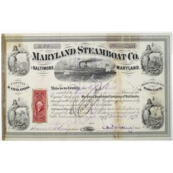 Maryland Steamboat Co. of Baltimore, 1870 I/C Stock Certificate
