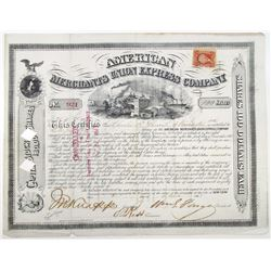 American Merchants Union Express Co. 1868 I/C Stock Certificate Signed by William Fargo as President