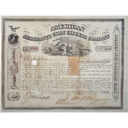 American Merchants Union Express Co. 1869 I/C Stock Certificate Signed by William G. Fargo