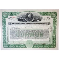 Anglo American Commercial Corp., 1919 I/U Stock Certificate.