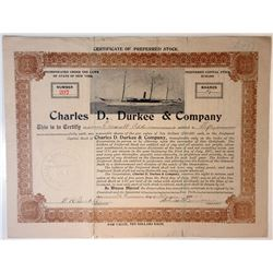 Charles D. Durkee & Co. 1913 I/U Preferred Stock Certificate.
