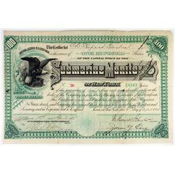 Submarine Monitor Co. 1885 I/U Stock Certificate