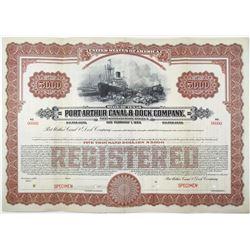 Port Arthur Canal & Dock Co. 1923 Specimen Bond