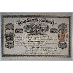 Linden Oil Co., 1865 I/U Stock Certificate.