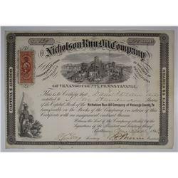 Nicholson Run Oil Co., 1865 I/U Stock Certificate.