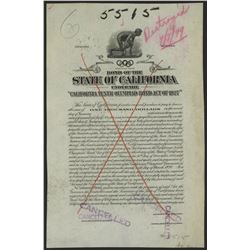 """State of California under the """"California Tenth Olympiad Bond Act of 1927"""", Bond Proof."""