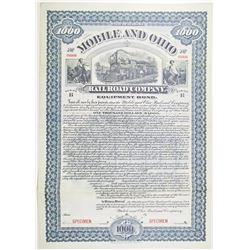Mobile and Ohio Railroad Co. 1899 Specimen Bond Rarity