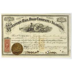 Western Rail Road Company of Alabama, 1871 I/C Stock Certificate.