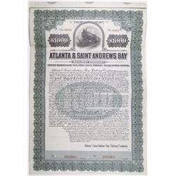 Atlanta & Saint Andrews Bay Railway Co. 1908 Specimen Bond Rarity