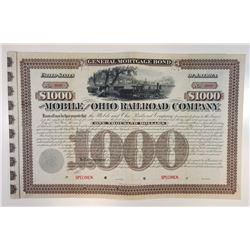 Mobile & Ohio Railroad Co., 1888 Specimen Bond Rarity