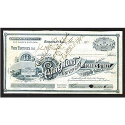 Claremont University & Ferries Street Railroad Co. 1891 Stock Certificate
